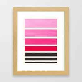 Magenta Minimalist Mid Century Modern Color Fields Ombre Watercolor Staggered Squares Framed Art Print