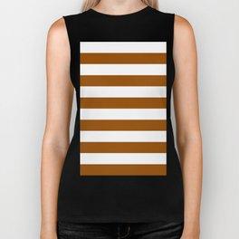 Horizontal Stripes - White and Brown Biker Tank