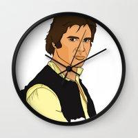han solo Wall Clocks featuring Han Solo by Bleachydrew
