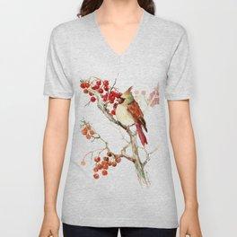 Cardinal Bird and Berries Unisex V-Neck