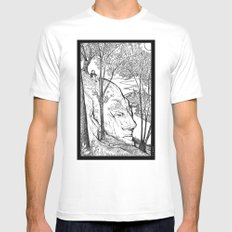 The Hill White MEDIUM Mens Fitted Tee