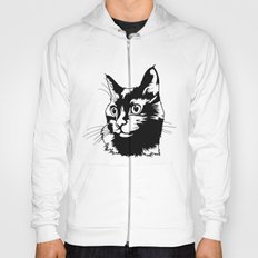 Black cat big head Hoody