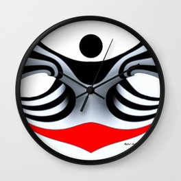Black White and Red Geometric Abstract Wall Clock