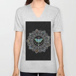 Lunar Moth Mandala with Background Unisex V-Neck
