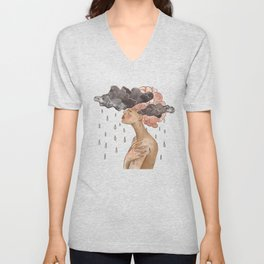 Beautiful black woman with pink hair. Surrealistic painting  Unisex V-Neck