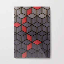 Grey Black Red Cubes Metal Print