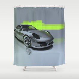 Porsche 911 Digital Painting   Automotive   Car Shower Curtain