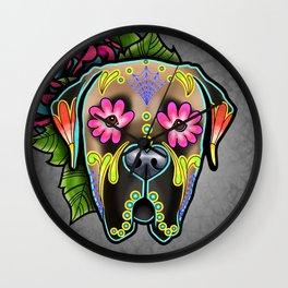 Mastiff in Fawn - Day of the Dead Sugar Skull Dog Wall Clock