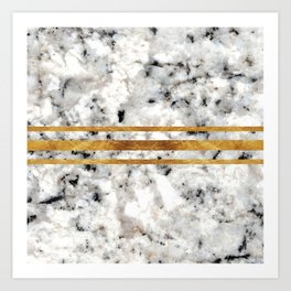 Classic Marble with Gold Racing Stripes Art Print