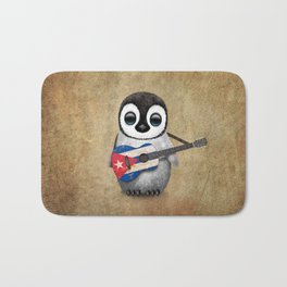 Baby Penguin Playing Cuban Flag Guitar Bath Mat