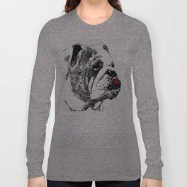 Bulldog Pop Art - How Bout A Kiss 2 - By Sharon Cummings Long Sleeve T-shirt