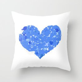 A Heart Of Blue Flowers Throw Pillow