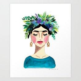 Floral Frida - Blue Art Print