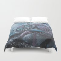 cheshire Duvet Covers featuring Cheshire Cat by Annelies202