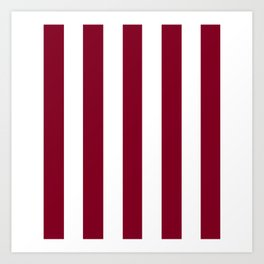 Oxblood red - solid color - white vertical lines pattern Art Print