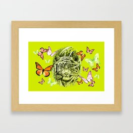 Tiger and Butterflies Framed Art Print
