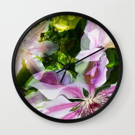 Clematis Collage Wall Clock