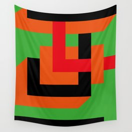 Very geometric. Some parallelepipeds. Green Background. Wall Tapestry