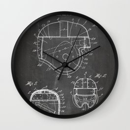 Football Helmet Patent - Football Art - Black Chalkboard Wall Clock