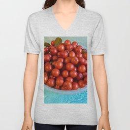Bowl of organic cherries Unisex V-Neck