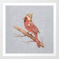 snow Art Prints featuring First Snow - colour option by Terry Fan