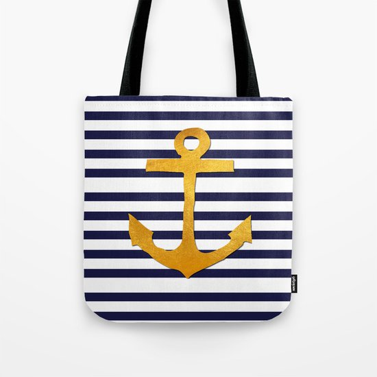 Marine pattern- blue white striped with golden anchor Tote Bag