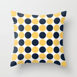 navy and yellow dots Throw Pillow
