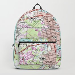 Vintage Map of Virginia Beach (1965) Backpack