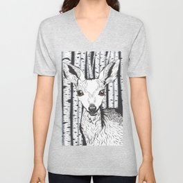 Ink and watercolor black and white doe/deer in the forest Unisex V-Neck