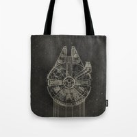 millenium falcon Tote Bags featuring Millennium Falcon by LindseyCowley