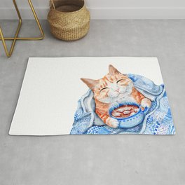 Happy Cat Drinking Hot Chocolate Rug
