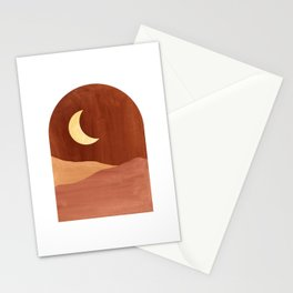 Terracotta night, abstract landscape, moon and desert Stationery Cards