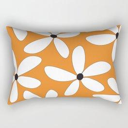 Happy Flowers Orange Rectangular Pillow