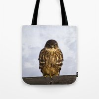 merlin Tote Bags featuring Merlin Falcon by Photography By MsJudi
