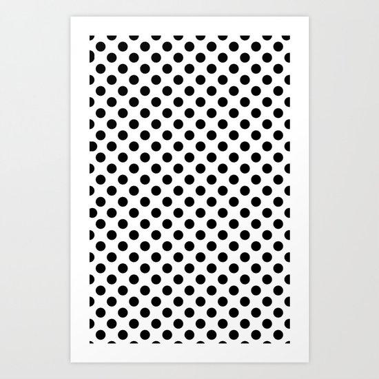 Black and white polka dots Art Print
