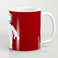 banksy Mugs featuring BANKSY STYLE ASTRONAUT MINIFIG by Chillee Wilson by Chillee Wilson [Customize My Minifig]