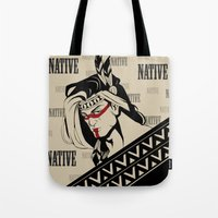 native american Tote Bags featuring Native by memo_alatouly