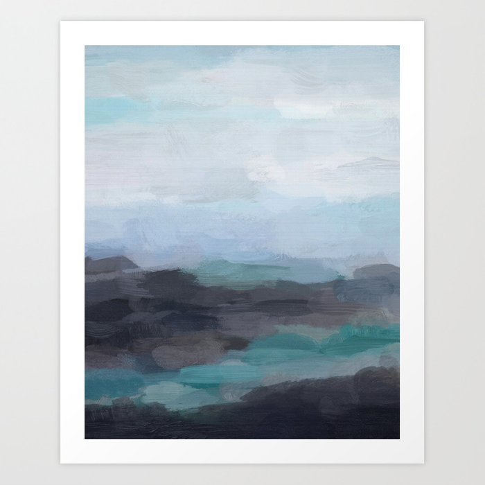Mint Navy Blue Green Abstract Wall Art, Painting Art, Ocean Painting ...