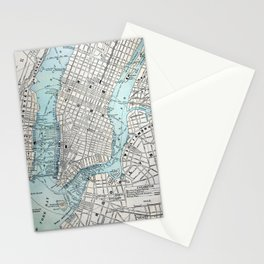Vintage Map of New York Stationery Cards