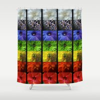 chakra Shower Curtains featuring chakra flowers by coreylynntucker