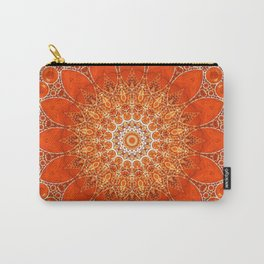Detailed Orange Boho Mandala Carry-All Pouch