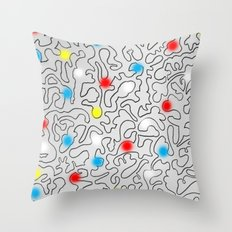 Puzzle with Spraypaint - Primary Colors Throw Pillow