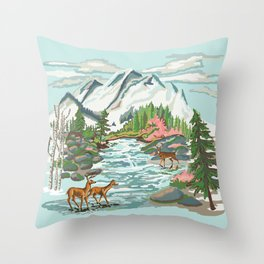 Paint by Number Mountain Medow Throw Pillow