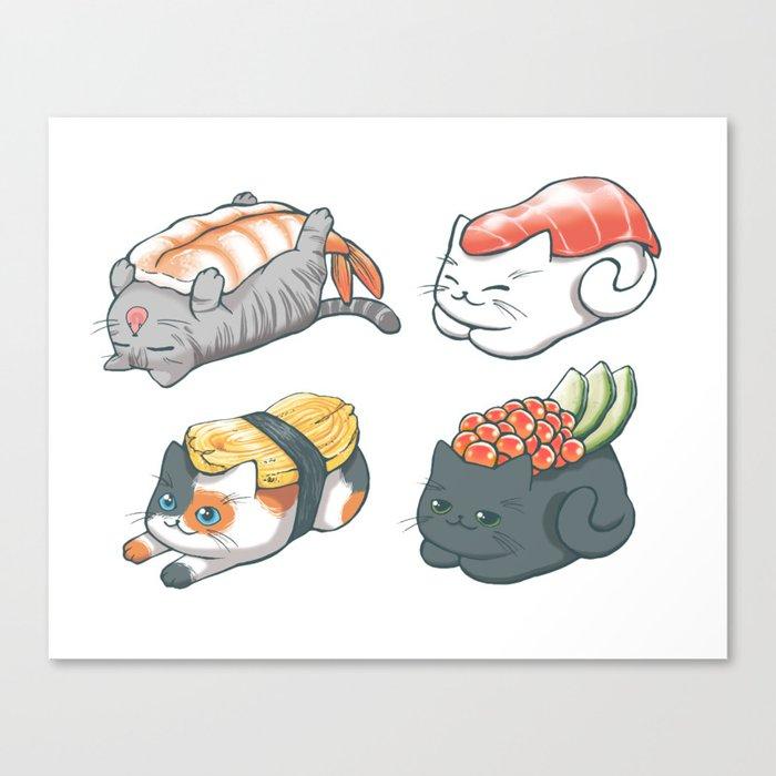 Sushi Cats Leinwanddruck