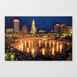 Summer Waterfire Downtown Providence, Rhode Island landscape painting Canvas Print