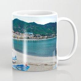 Boats on Beach at Cefalu Italy Coffee Mug