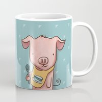 piglet Mugs featuring Hungry Piglet by Hop & Flop
