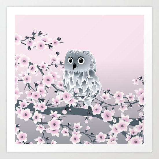Cute Owl and Cherry Blossoms Pink Gray Art Print