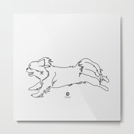 Beautiful Tibetan Spaniel Girl Minimalist Outline Artwork Metal Print