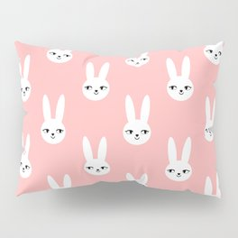 Bunny Rabbit pink and white spring cute character illustration nursery kids minimal floral crown Pillow Sham